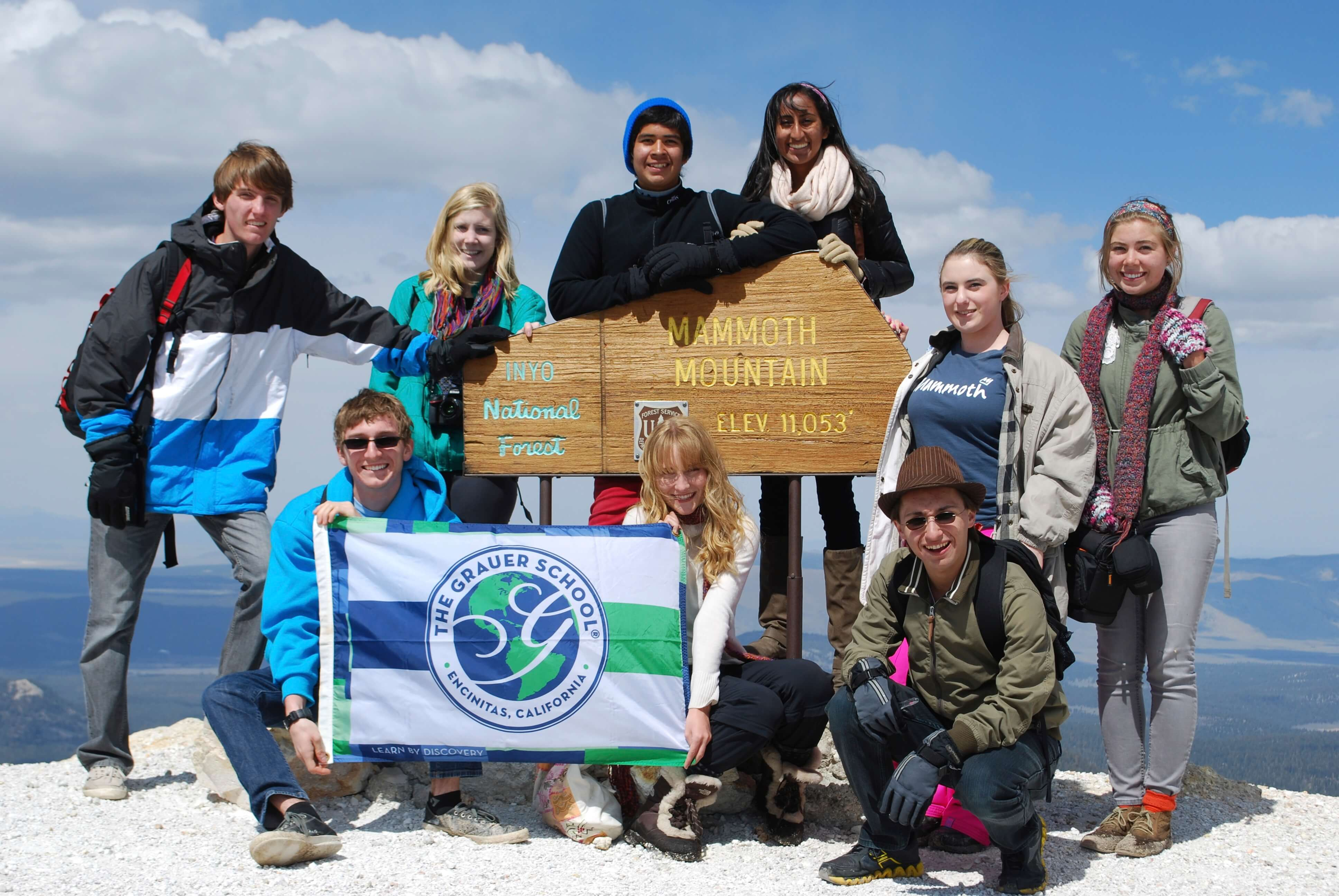 grauer school students at the peak of mammoth mountain