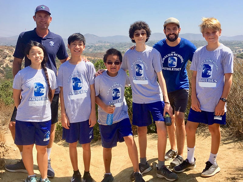 grauer school students on a PE hike