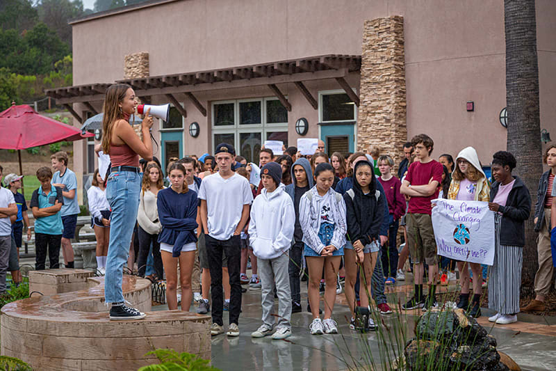 a student led climate change protest at the Grauer School in September 2019