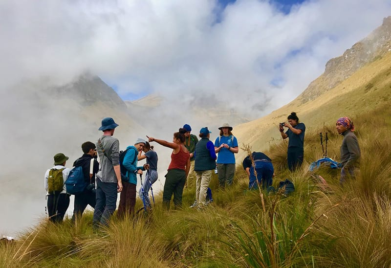 Grauer students high in the Andes mountains in Ecuador