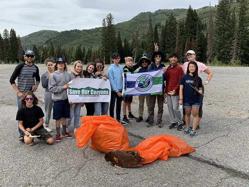 grauer school students doing service at Yellowstone National Park