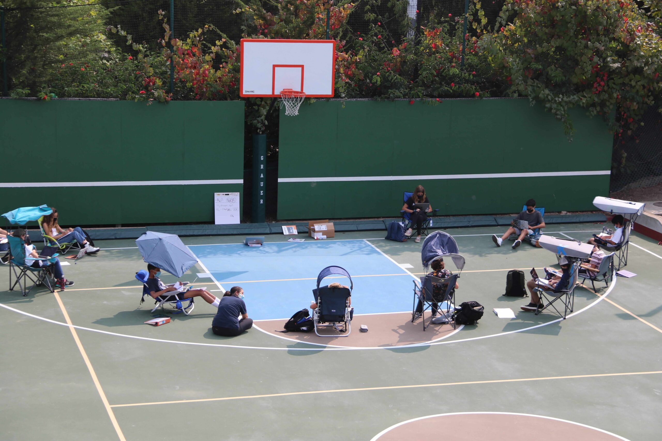 a tennis court study session at the grauer school in encinitas california during COVID-19 pandemic
