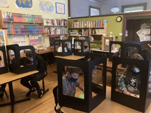 students in learning pods at CELC middle school in branford Connecticut